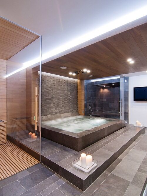 Indoor Hot Tub Interior Design Homedesign Interiordesign Hottub Bathtub Tub Bath Bathroom Contemorary Modern Dream House House Luxury Homes