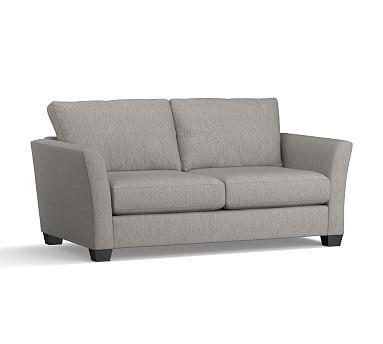 "PB Comfort Fin Arm Upholstered Sofa 78"", Box Edge Down Blend Wrapped Cushions, Sunbrella(R) Performance Sahara Weave Charcoal"
