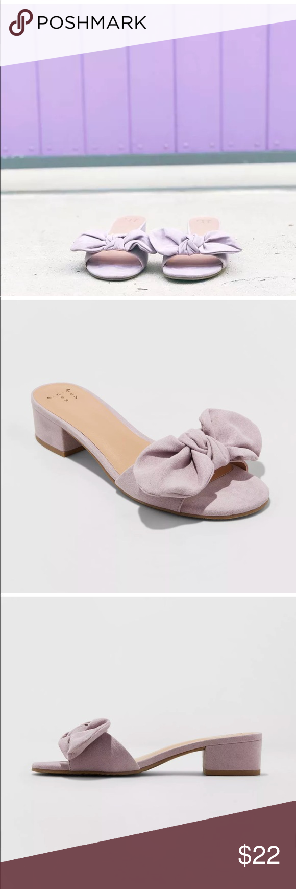 02c3fa7265af A NEW DAY pastel lavender bow slides mules sandal NWT A New Day Lavender  Bow Slide Sandals - small chunky block heel - size 6.5 - sold out at retail a  new ...