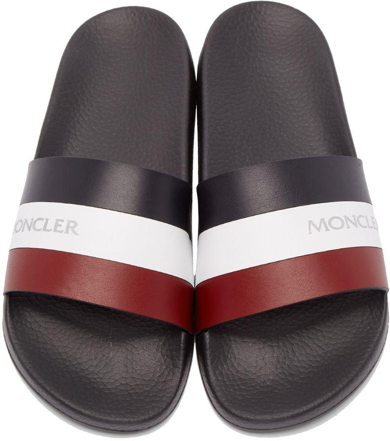 e96bb583f Moncler  Tricolor Leather Slide Sandals