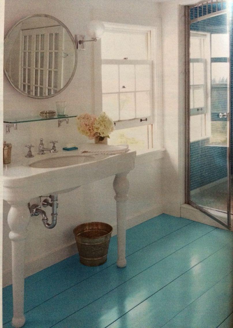 Sherwin Williams Porch And Floor Enamel In Rapture Blue On The Bathroom Floor Painted Bathroom Floors Wood Floor Bathroom Painted Wood Floors