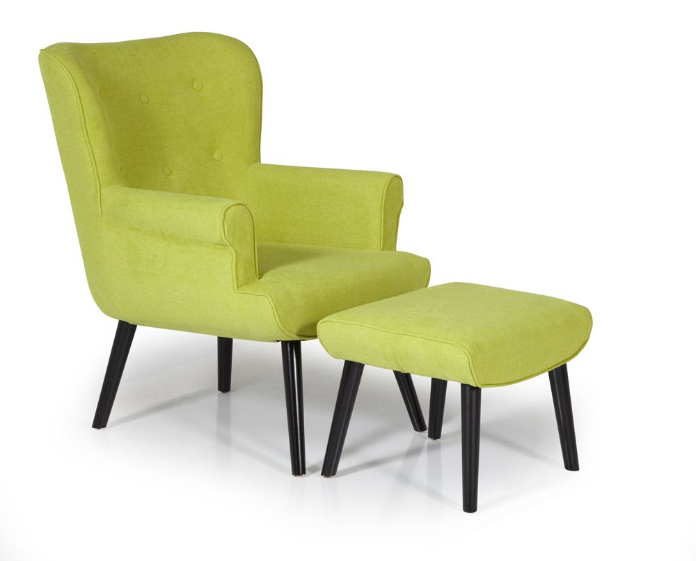 Oban Lime Green Retro Armchair With Footstool Capital Dining Chairs Retro Armchair Fabric Lounge Chair Chair