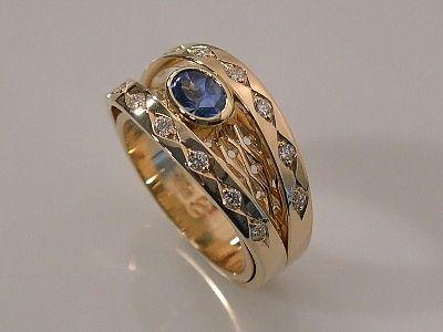 Sapphire & Diamond Double Shank Wide Ring