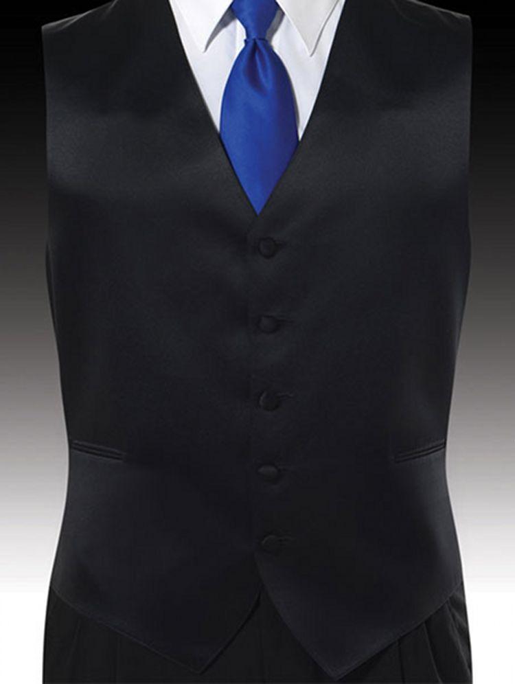 blue shirt black vest