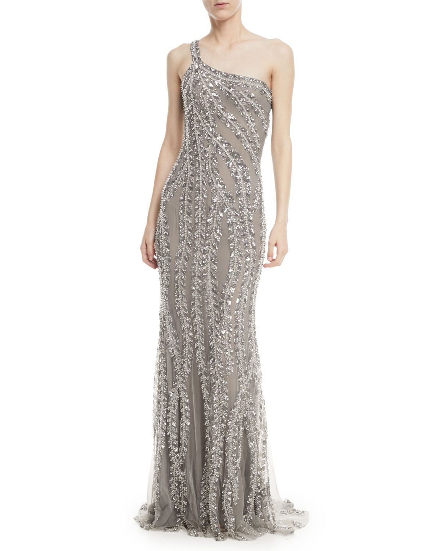 One Shoulder Embellished Sequin Evening Gown 2018 Pinterest