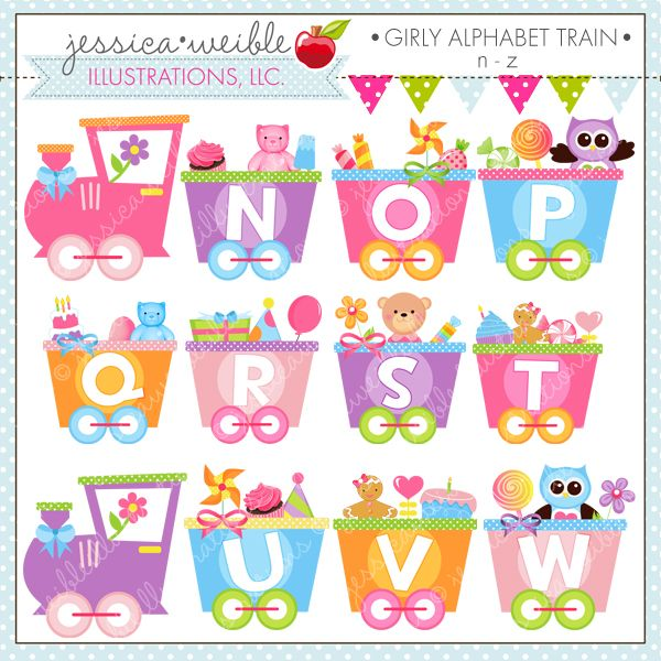 Girly Alphabet Train N-Z - adorable graphics - pair with A - M for an adorable educational train set.