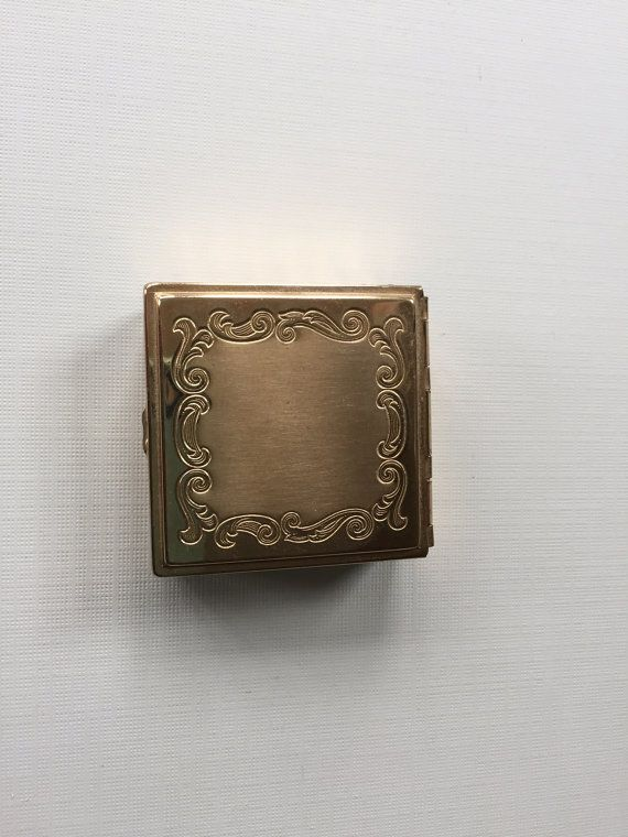 Vintage compact gold toned mini square by HollysCollageCorner