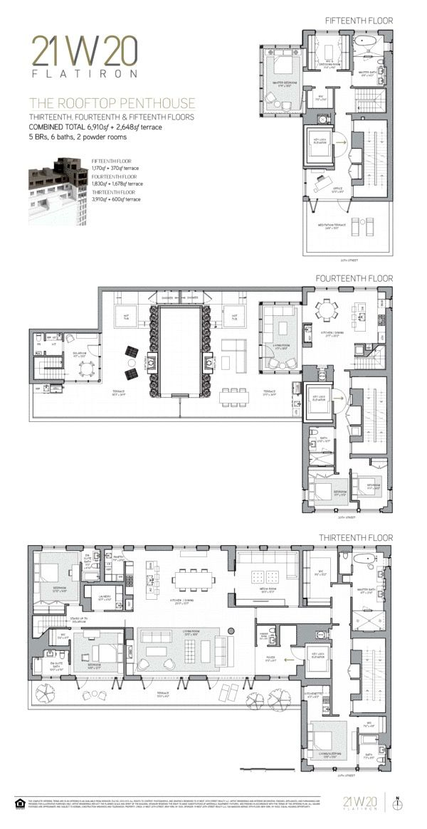 21 West 20th Street Ph3 4 Architectural Floor Plans Floor Plan Design Home Building Design