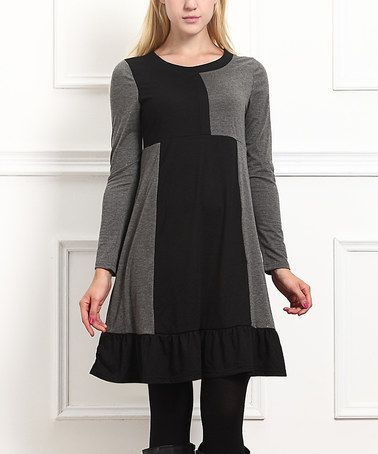 Another great find on #zulily! Charcoal & Black Color Block Patchwork Shift Dress #zulilyfinds
