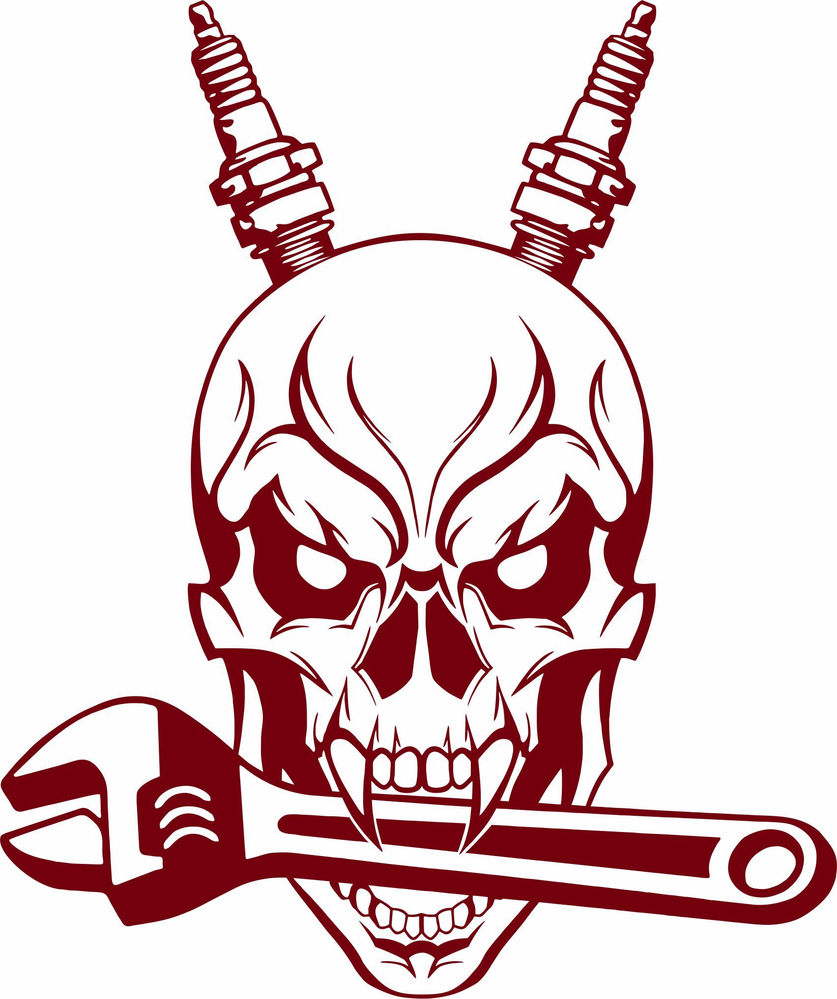 Auto mechanic skull spark plug wrench tools garage shop vinyl decal sticker