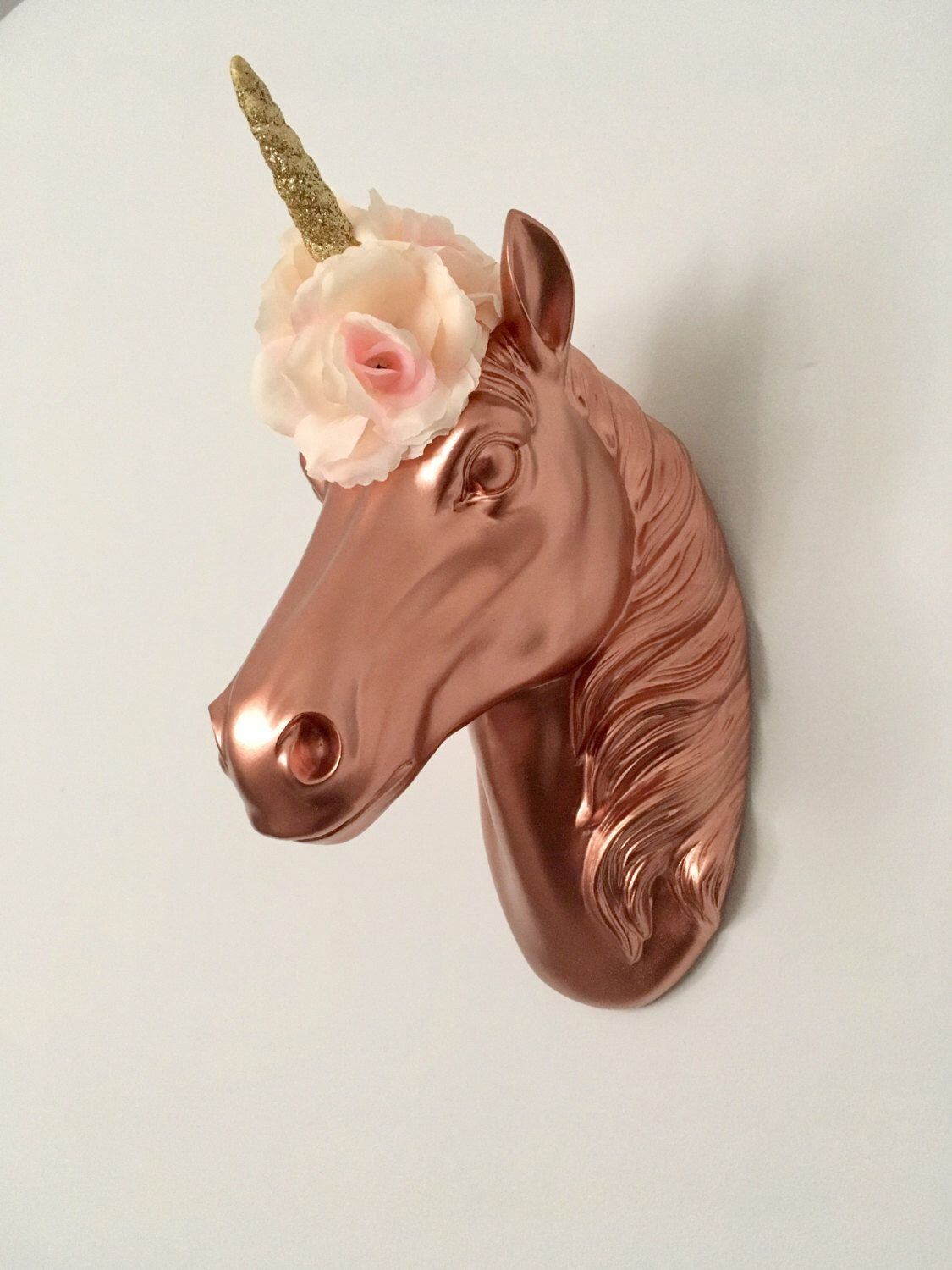 Upcycled rose gold unicorn head mount with gold glitter staff and