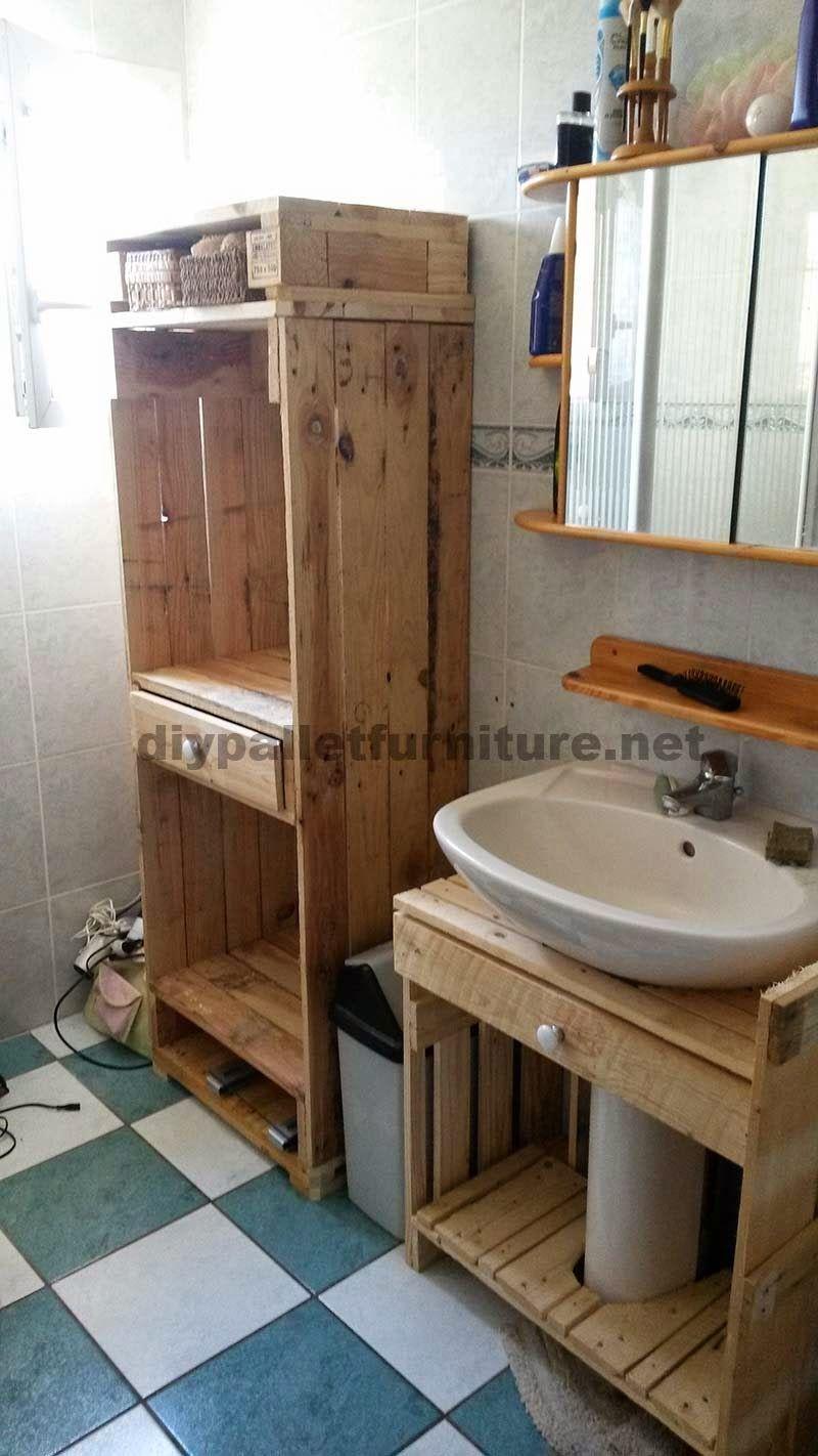Muebles de palets muebles para el ba o realizados - Palets muebles reciclados ...