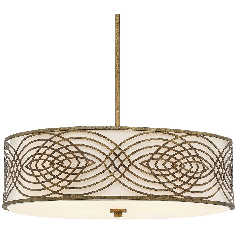 Possini euro jupiter 22 1 4 wide antique gold ceiling light style 9h439