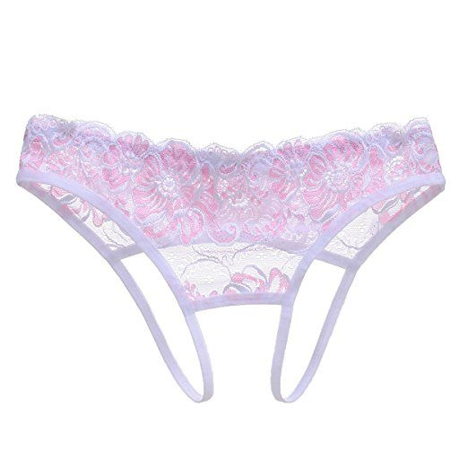 e9b6c06807b CISSETINA Women s Sexy Lace Embroidered T-back G-string Crotchless Thong  Panties