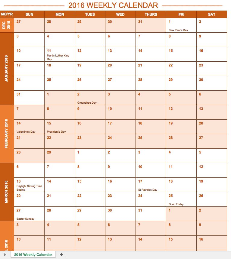 2016 Weekly Calendar with Holidays (landscape) Planner - free weekly calendar