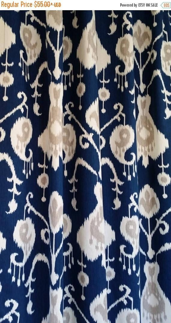 Ikat Curtains. Drapery Panels Navy Blue Curtains Window Curtains You Choose  Your Length 25W 2 Panels, Custom Drapery
