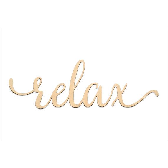 Relax Script Word Wood Sign Wooden Words Sign Art Rustic Cursive