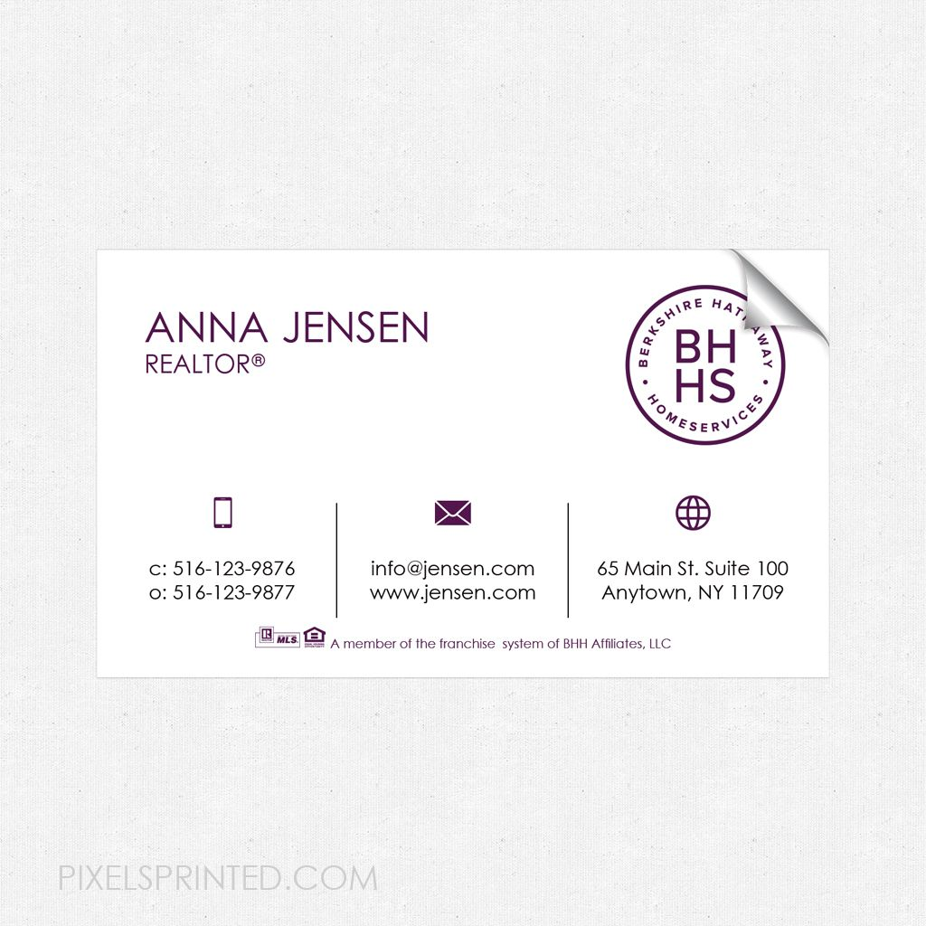 Berkshire Hathaway Home Services business card sticker, BHHS ...