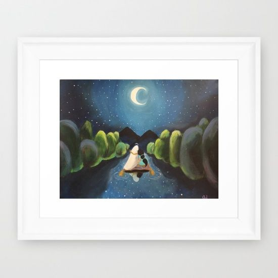 Aladdin and Jasmine framed art print, taking a magic carpet ride in a Whole New World.    night, mountains, Aladdin, Disney, moon, Jasmine, magic carpet,