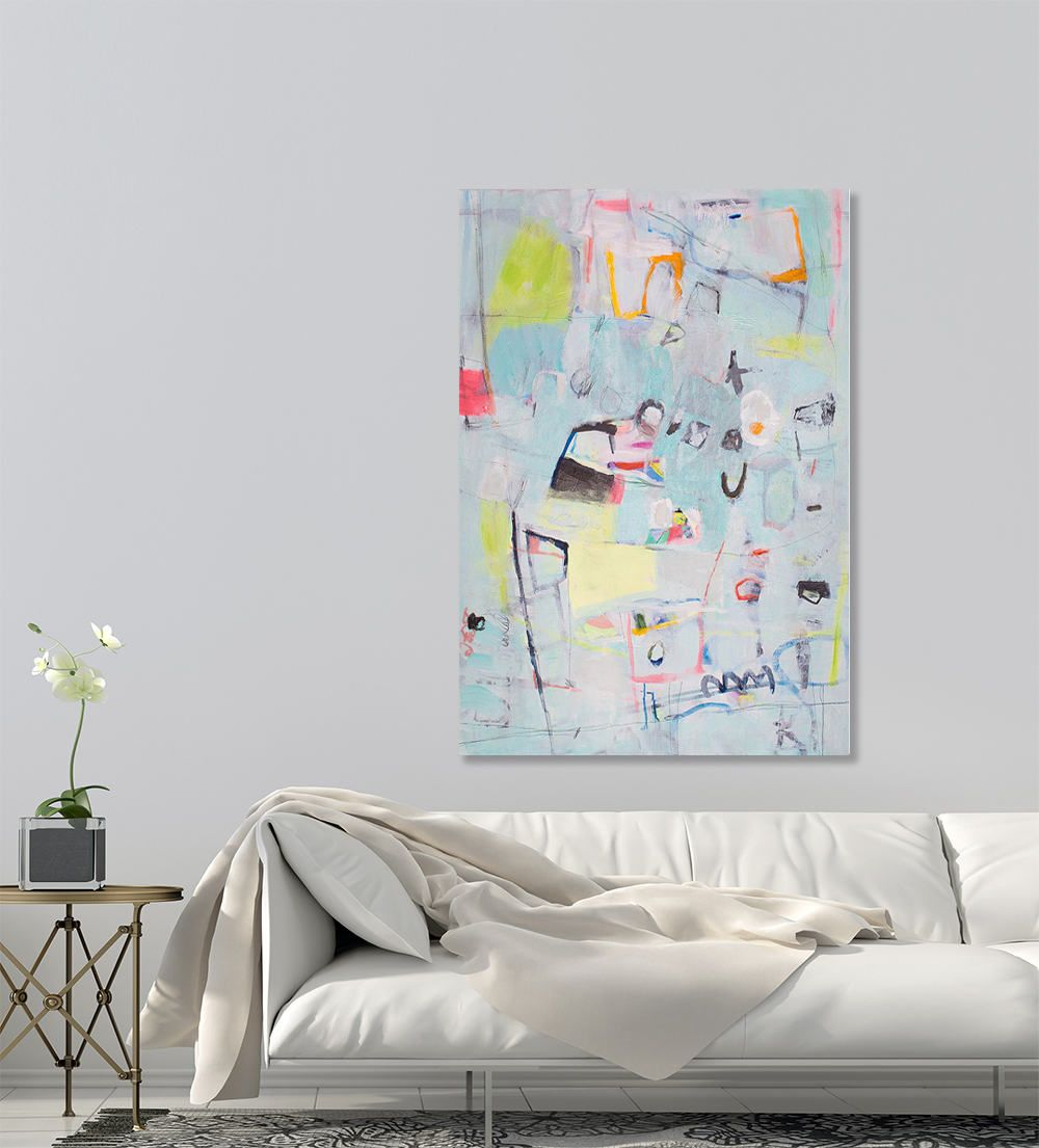 Colorful modern abstract painting aqua green pink large wall art