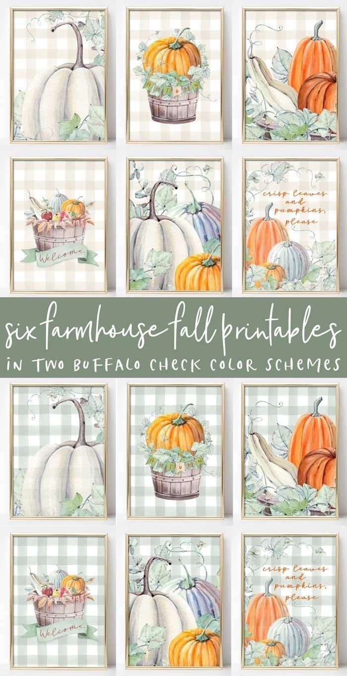 Six Fall Farmhouse Printables images