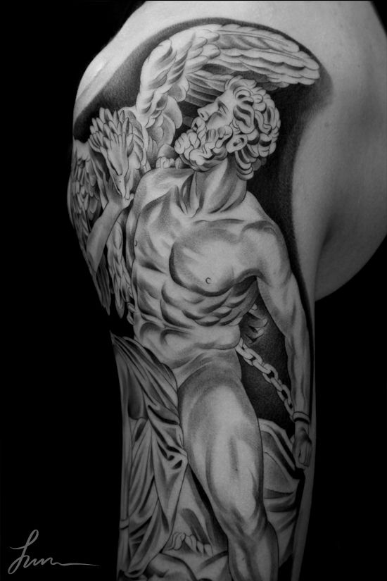Jun Cha Is A Los Angeles Artist With An Exceptional Portfolio Of Striking Of Black White And Greyscale Tattoos Jun Att Art Tattoo Cool Tattoos Apollo Tattoo
