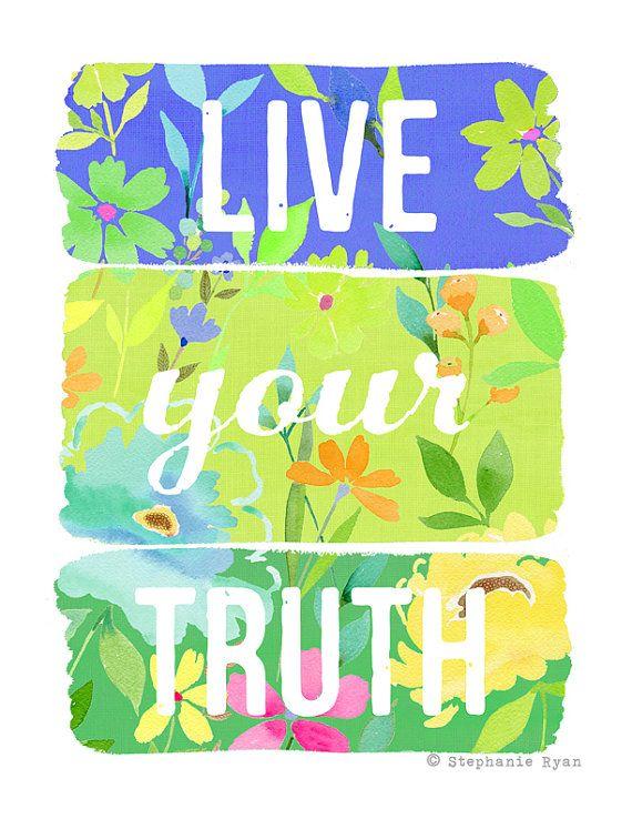 Calidad de impresión reproducción de mi acuarela arte pintura, vivir tu verdad. Esta pieza está impreso en papel mate hermoso de alta calidad