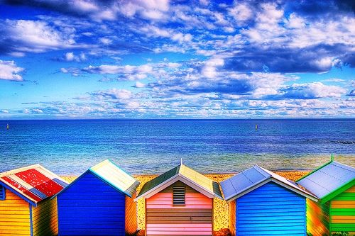 colourful beach shacks- inspiration - colours painting | Colour ...