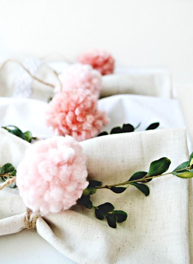 Easy DIY Pom Pom Napkin Rings | Table Setting Ideas | MyFabulessLife.com & Spring \