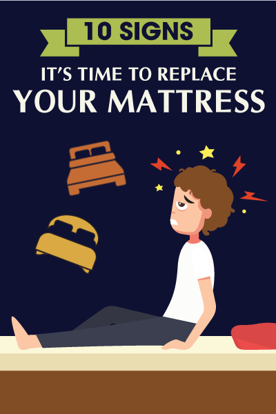 INFOGRAPHIC: 10 Signs It's Time to Replace Your Mattress  When should you replace your mattress? It might not be clear, but you will need to replace your mattress at one time. It's good to inspect the status of your mattress to determine when its time to get a new one. Below are the ten signs that indicate it's time to consider replacing your mattress.  http://justgosleep.com/infographic-10-signs-time-replace-mattress/