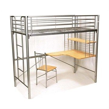 Harvard Single Bunk Bed With Desk And Chair In Silver Bunk Beds