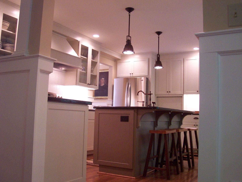 New Kitchen Layout Opening Walls, Using Diamond Cabinets, Wood Hood, Honed Granite  Countertops
