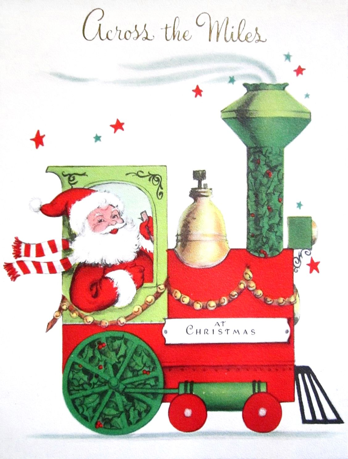 Vintage Christmas Card ~ Santa & Train | Christmas Graphics 3 (Santa ...