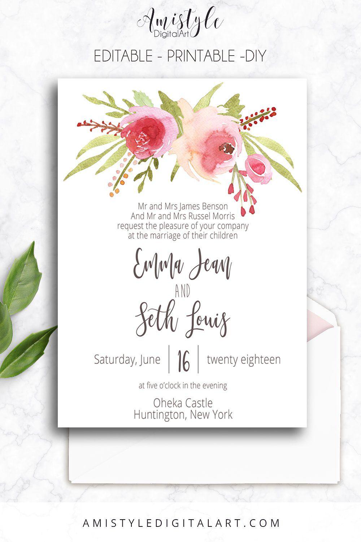 Wedding Invitation Template  Roses By Amistyle Digital Art On