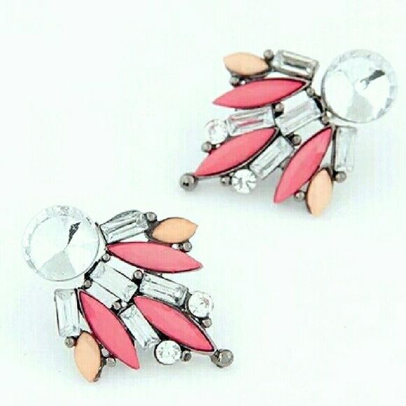 <BOUTIQUE> Coral & Rhinestone Earrings BOGO 50% Of ALL JEWELRY IS BUY ONE GET ONE 50% OFF   Unique and eye catching earrings. Rubber post backs. Brand new boutique item, presented with a handcrafted ThriftPretty tag.  1 inch long, 1 inch wide  Packages wrapped with love   Price firm unless bundled Boutique  Jewelry Earrings