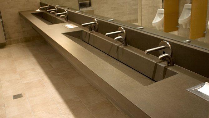 Integral Trough Sink    Restroom    Tile    Faucet