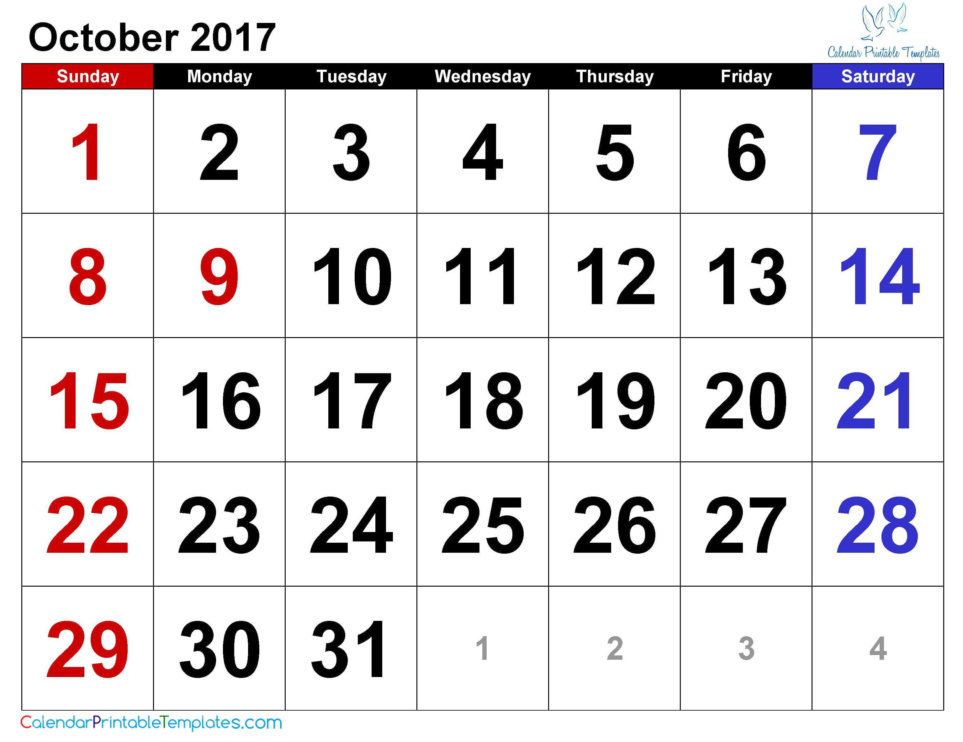 October 2018 Calendar Printable Template Pdf Uk Usa Canada