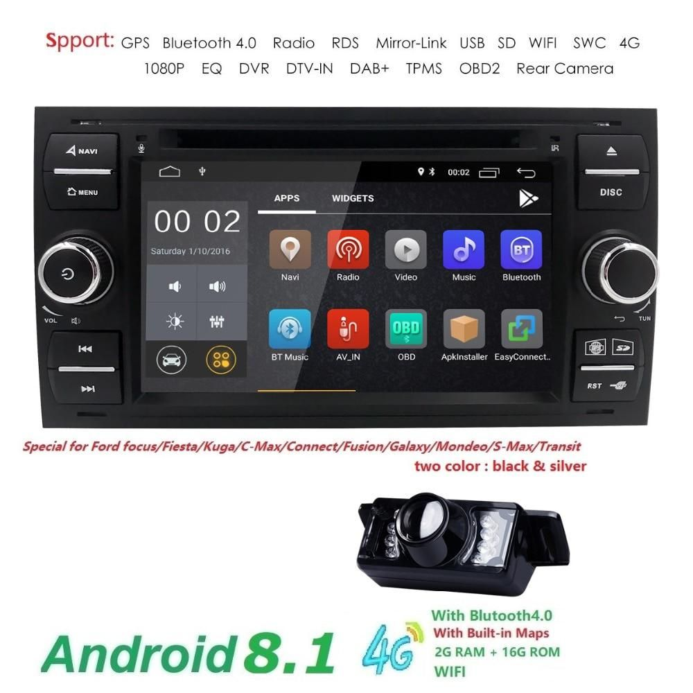 Autoradio 2 Din Android 8 1 Black Sliver Gps Navi Car Dvd Player For Ford Focus 2 Mondeo S Cmax Fiesta Galaxy Connect 2004 2008 Ford Focus Car Dvd Players Gps