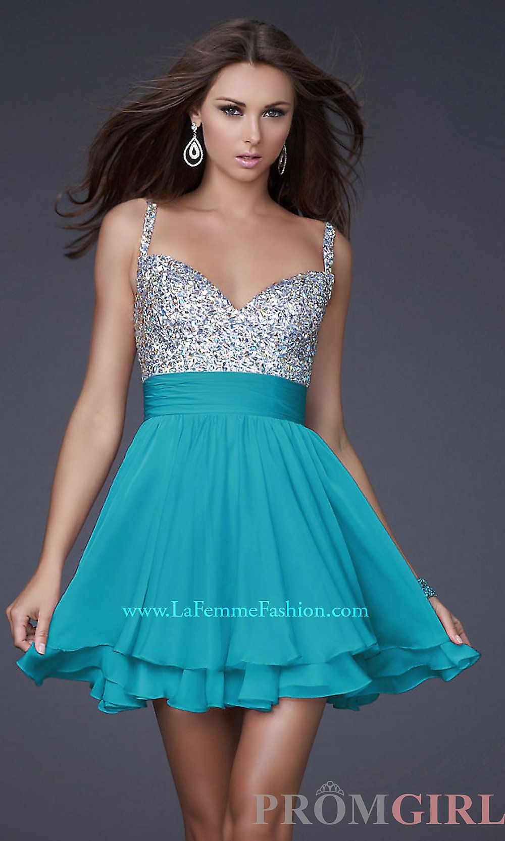 La Femme Beaded Party Dress, Junior Prom Beaded Dresses- PromGirl ...