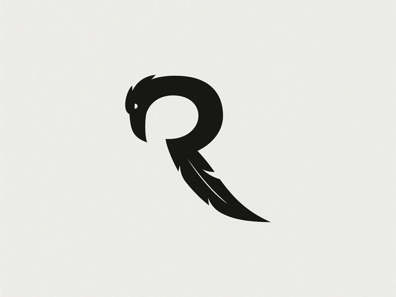Raven Letter R Logo Design Logo Design Logos Lettering