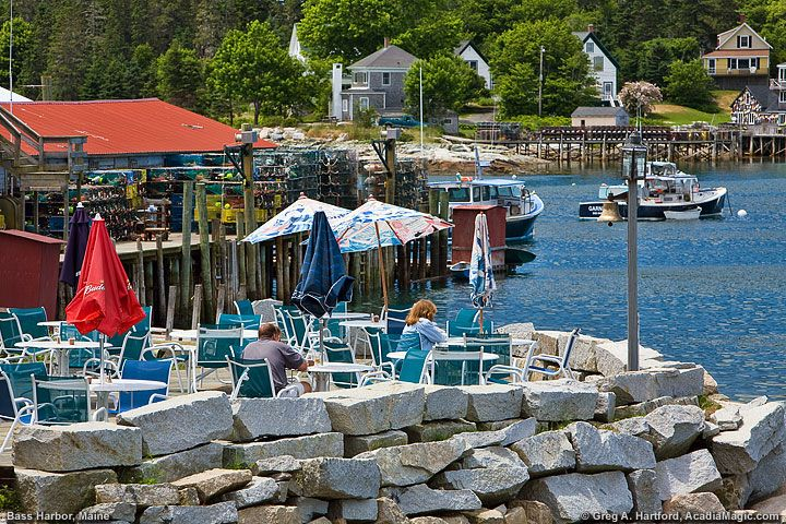 Dining on fresh seafood next the source in Bass Harbor