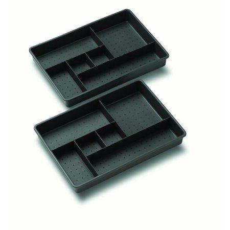 Madesmart Opp Two Tray Drawer Organizer Granite Black Drawer
