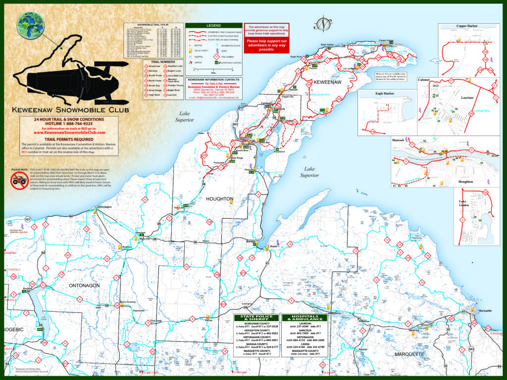Snowmobile Trail Map For The Keweenaw Peninsula Of