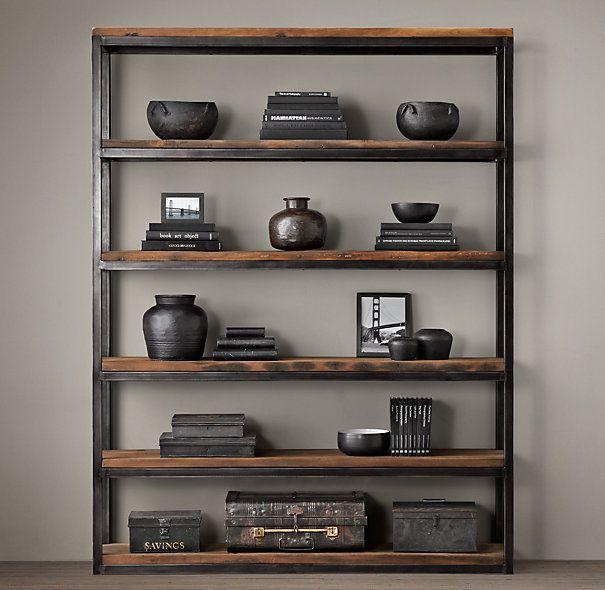 Shipwood Open Shelving Wood Shelves Bookcase Restoration Hardware - Restoration Hardware Inspiration - $100 Wood And Metal Bookshelf