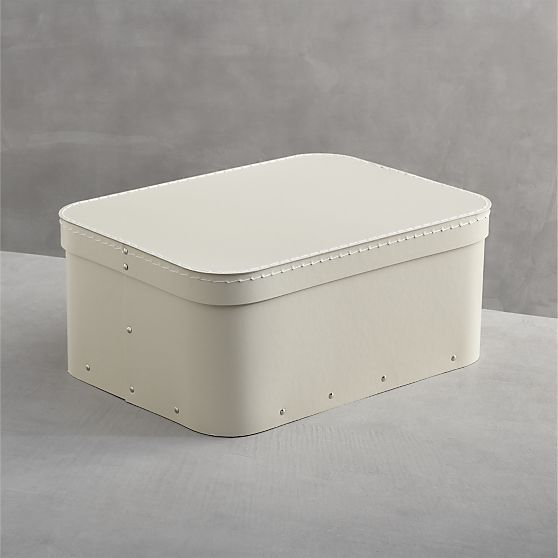 Set of 2 Bigso � Ivory Rectangular Storage Boxes  | Crate and Barrel