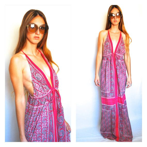 Vintage maxi by Magic  sixties inspired hippie summer dress  large