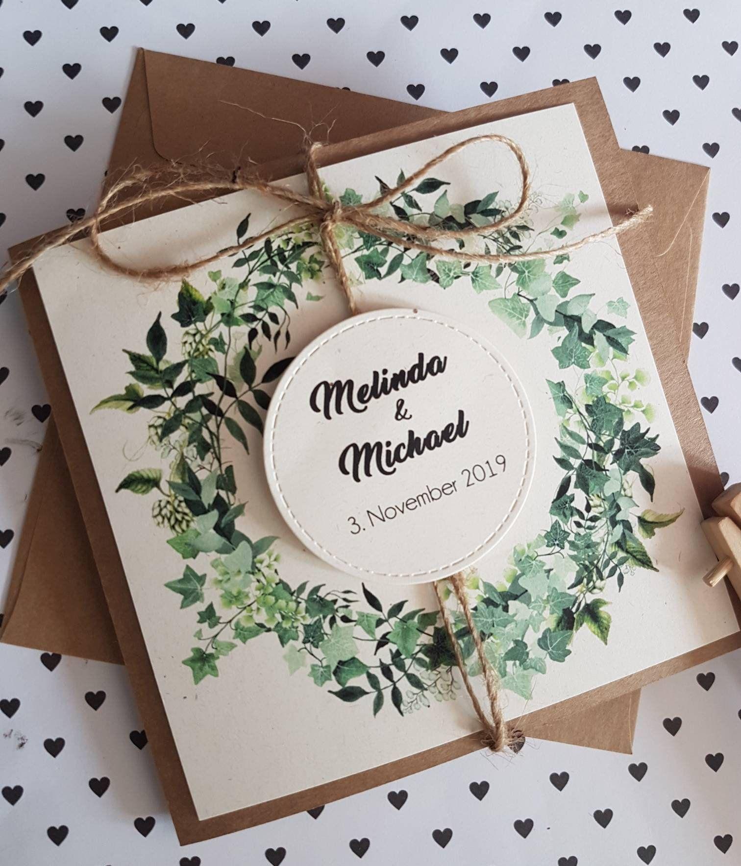 10x invitaciones de boda, hojas de plantas, vintage, invitación de boda, corona floral de bautizo kraft yute boho con estampado