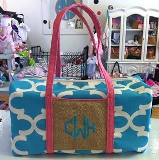 Caught Ya Lookin' - Blue and Pink Monogrammed Duffle Bag