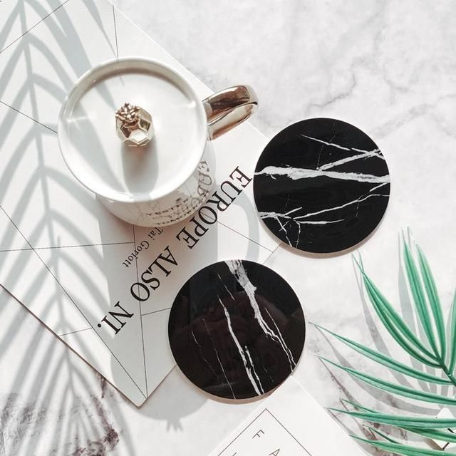 Black And White Marble Coaster Marble Coasters Cup Mat Black And White Marble