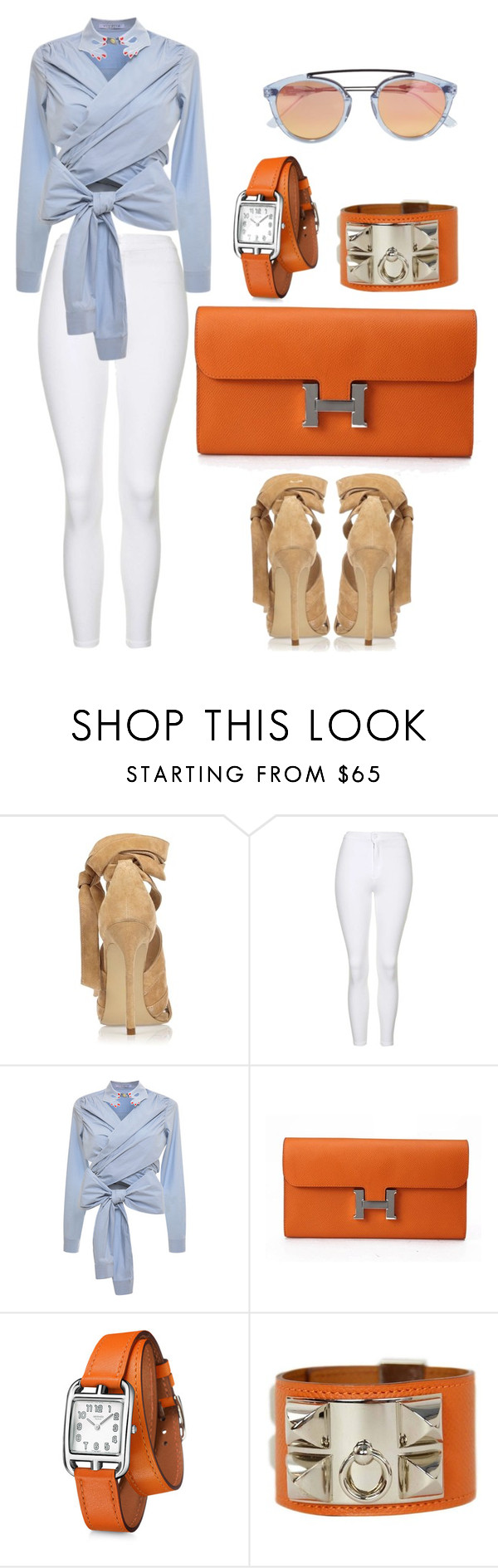 """Untitled #239"" by scannedbyaaron ❤ liked on Polyvore featuring River Island, Topshop, VIVETTA, Hermès and Westward Leaning"
